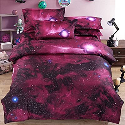 sourcingmap 3D Printed Galaxy Sky Cosmos Night Pattern Duvet Cover Set Comforter cover Pillowcases Set Single/Queen Size - inexpensive UK light shop.