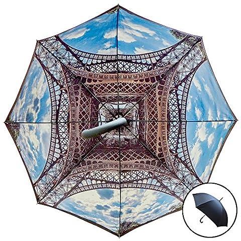 Studio Starling S Tour Eiffel parapluie | automatique, tempête sûr windund urchlässiger parapluie avec double couche Canopy–Tour Eiffel Imprimé intérieure/extérieure Noir
