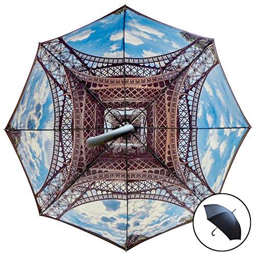 Studio Starling S Torre Eiffel ombrello | automatico, Tempesta sicuro windund urchlaessiger Stock ombrello con doppio strato Canopy-Torre Eiffel stampato interno/esterno nero