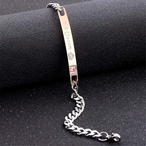 WODESHENGRI Armbänder,Liebhaber Armband Edelstahl Crystal Charme Bracelets Frauen Männer Geschenke Für Paare Mode Link Kette (Für Billig Paare Easy-kostüme)