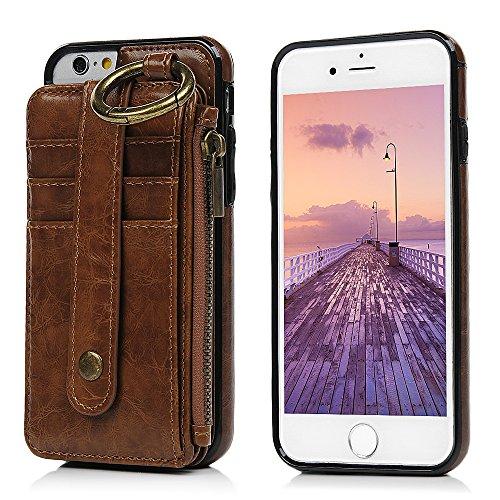 MAXFE.CO Schutzhülle Tasche Case für iPhone 6 6S PU Leder TPU Innen Schale Flip Tasche Cover Vertrennbar mit Ring Book Case Kartenfach Rot Braun