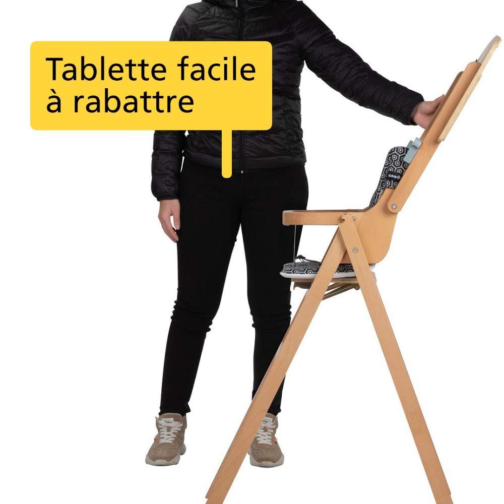 Safety 6st Nordik Chaise Haute Bois pour Bébé Pliable avec Coussin