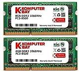 Komputerbay 16GB Dual Channel Kit 2x 8 GB 204pin DDR3-1066 SO-DIMM PC3-8500 1066 (1066 MHz, CL7) para Apple