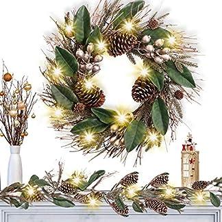 Valery Madelyn Pre-Lit Corona de Navidad Grande, Decoración de Navidad para Hogar, Ventana, Puerta, Pared