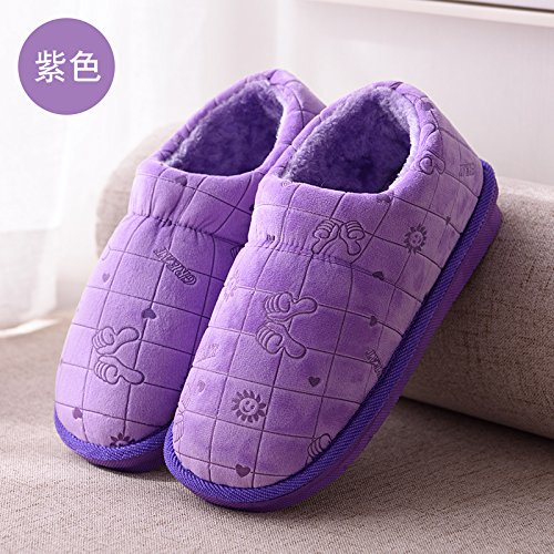 DogHaccd pantofole,Un gran numero di persone anziane in classico cotone felpato pantofole pacchetto alta a caldo con gli uomini e le donne a rimanere a casa di uno spessore di scarpe di cotone e l'inv La porpora1