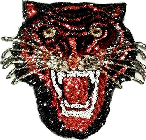 Pailletten Strass Glitzer Tiger Aufnäher Patches groß Tiger für Jacken Aufbügler zum aufbügeln
