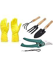 DeoDap Gardening Tools - Reusable Rubber Gloves, Flower Cutter/Scissor & Garden Tool Wooden Handle (3pcs-Hand Cultivator, Small Trowel, Garden Fork)