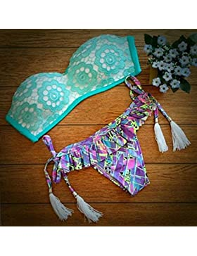 Moderno y confortable de dos piezas del bikini moda LACE LACE correa _ split bañador de dos piezas de color verde...