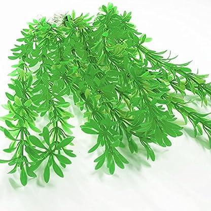SLSON 4 Pack Aquarium Decorations Plants Green Artificial Plastic Water Plant for Fish Tank Decor,10 Inch Tall 2