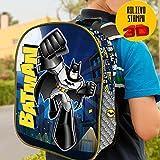 Zainetto Batman Stampa Rilievo 3D Warner Bros Bambini Scuola Asilo Elementari