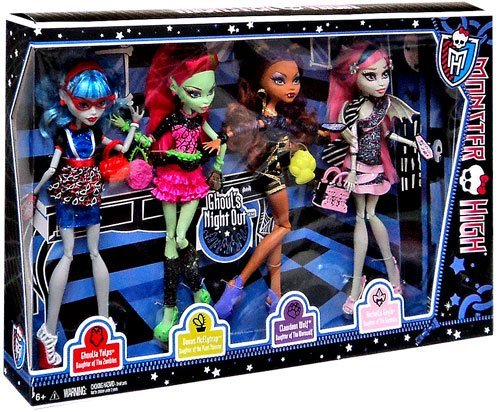 Monster High 4 Puppen Ghouls Night out - Rochelle Goyle, Clawdeen Wolfg, Venus mcFlytrag und Ghoulia Yelps (Rochelle High Monster)