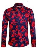 APTRO Herren Hemd Urlaub Blumen Hemd Langarm Rot 1107 M