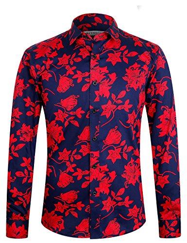 APTRO Herren Hemd Urlaub Blumen Hemd Langarm Rot 1107 S