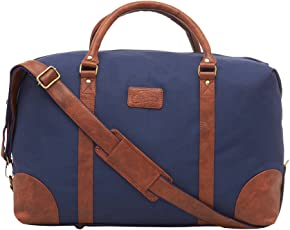 Leather World 46.2 Liter Blue 21 Inch PU Leather Designer Nylon Duffle Bags with Zip Closure Luggage Travel Bags for Men and Women