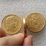 Bespoke Souvenirs Rare Antique Ancient European French 1870 B Made Gold Color Napoleon 20 Francs Coin Seltene Münze