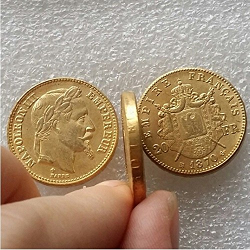 Bespoke Souvenirs Rare Antique Ancient European French 1870 B Made Gold Color Napoleon 20 Francs Coin Seltene Münze -