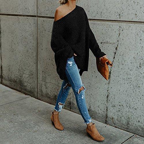 JuneJour Femme Chandail Pull Épaules Dénudées Sweat en Tricot pour Printemps Automne Hiver Couleur Uni Noir