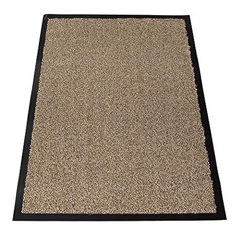 Cotton Large Small Non Slip Dirt Barrier Entrance Floor Mat Office Door Rug (Light Brown Mix, 60x90cm