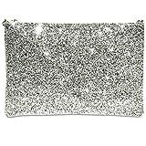 CASPAR TA341 große Damen XL Glitzer Pailletten Clutch Tasche Abendtasche mit Handschlaufe, Farbe:silber/weiß;Größe:One Size