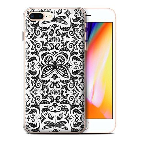 Stuff4 Gel TPU Hülle / Case für Apple iPhone 8 Plus / Schwarz / Weiß Muster / Insekten Muster Kollektion Schwarz / Weiß