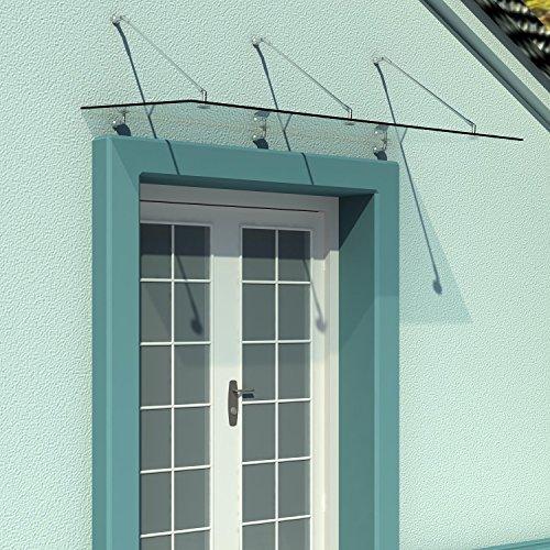 HOMCOM Vordach Glasvordach Türvordach Verbundsicherheitsglas VSG 304 Edelstahl Klarglas 3 Größen...