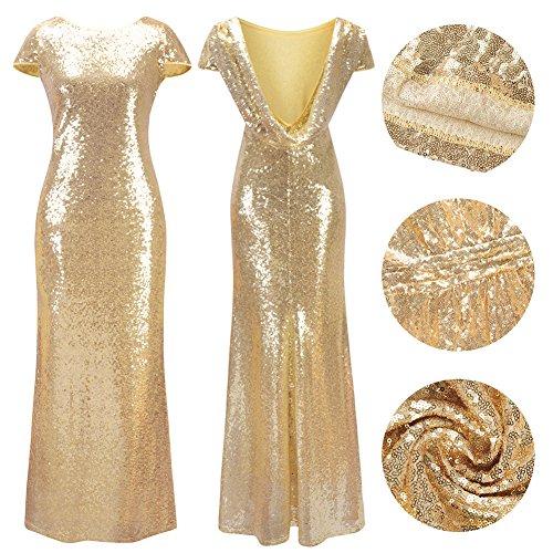 Frauen Kurzarm O-Ausschnitt Fischschwanz hell Abend Prom Pailletten Kleid Gold S - 6