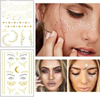 Xinlie 2 Stück Tätowierungsaufkleber Metallic Flash Tattoos Face Tattoo Face Sticker Gesicht Aufkleber for Holiday Gift...
