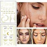 Xinlie 2 Pezzi Adesivi per Tatuaggio Metallico Flash Tatuaggi Faccia Tatuaggio Adesivo per viso Adesivi per Festa Regalo Raga