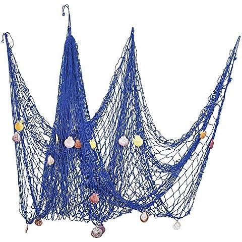 eBoot Nautical Pesce Decorativo Stile Mediterraneo Netto Decorativi Rete dei Pesci con Conchiglie di Mare per La Decorazione Domestica, 2 x 1.5 Metri, Blu