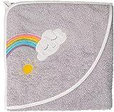 Smithy Kapuzenhandtuch / Kapuzenbadetuch / Kapuzentuch für Babys WOLKE, 100% Baumwolle, 100x100 cm, Farbe grau