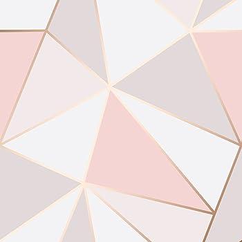 Papier Peint Geometrique En Marbre Fractal Or Rose Fine Decor