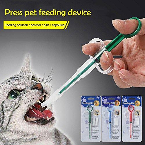 Piller Schieber Spritze mit 2 Stück Soft Silica Gel Kopf, Praktische Medizin Fütterung Dispenser Tool für Hund Katze Welpen Kätzchen Oder Andere Kleine Tier - Grün ()