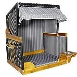 JEMIDI Strandkorb für Hunde und Katzen Hundestrandkorb Hundekorb Hundebett Katzenbett Hundehütte Wassernapf Rattan Holz Anthrazit Groß