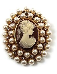 Cameo broche de cristal imitación de perlas (Dorado)