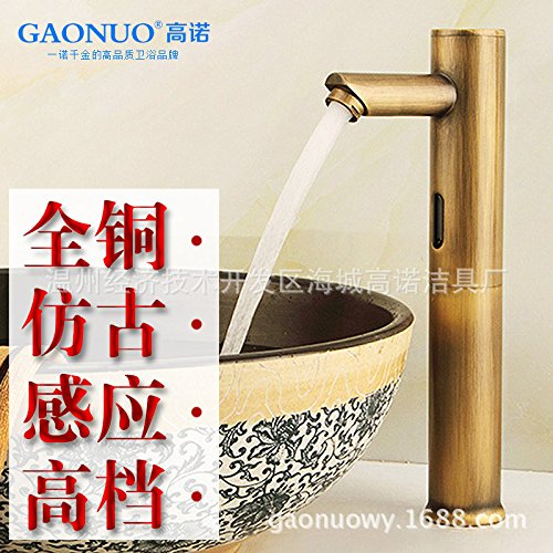 Preisvergleich Produktbild LppkzqEuropean antike Retro automatischer Wasserhahn Kupfer einzigen kalten Wasserhahn warmes und kaltes Infrarotsensoren, Waschschüssel