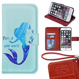 iPhone 6Housse portefeuille–Onelee Disney La Petite Sirène Premium en cuir PU Coque Wallet Flip Stand 11,9cm Coque pour iPhone 6avec fentes pour cartes