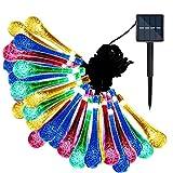 Lamker LED Solar Lichterkette Blüten 6.35M 30 LED Außenlichterkette Wassertropfen Beleuchtung für Außen Innen Outdoor Garten Party Haus Hochzeit Weihnachten Terrasse Camping Hof Feier Festakt Deko - Bunt