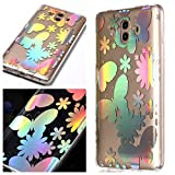 Huawei Mate 10 Case, BONROY Laser Colorful Huawei Mate 10 Case Clear Feather Pattern Design Silicon TPU Gel Rubber Cover Ultra Thin Slim Protective Bumper Shockproof Transparent Skin Shell Cute Elegant Kawaii Personalised Designer - Laser Butterfly