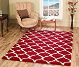 """A2Z RUG Cozy Super Trellis Shaggy Rugs Red & Ivory 80x150 cm -2'6""""x4'9"""" ft Contemporary Living Dinning Room & Bedroom Soft Area Rug"""