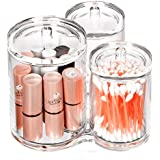 3 Connected Compartments 100% Acrylic Cotton Bud and Ball Holder - Cosmetic Storage Makeup Organizer - Bath Accessory