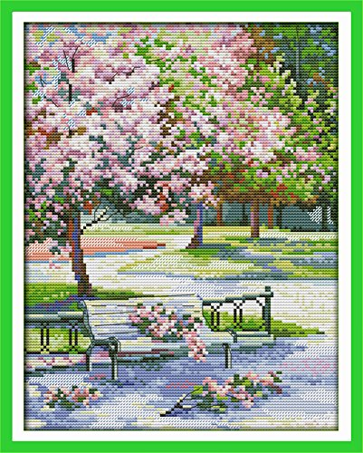 CaptainCrafts Hot New Releases Cross Stitch Kits Patterns Embroidery Kit - The Spring In The Park (STAMPED)