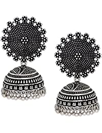 V L IMPEX Black Metal Oxidised Silver Plated Jhumka Jhumki Earrings for Women & Girls