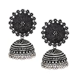 V L IMPEX Black Metal Oxidised Silver Plated Jhumka Jhumki Earrings For Women & Girls