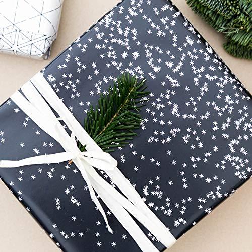 Geschenkpapier beidseitig Schneeflocken in schwarz weiß Größe A2-3 Bögen grafisches Einpackpapier zweiseitig - Dekopapier Weihnachten Geburtstag Winter