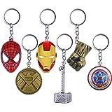 YUIP 6 Pcs Marvel Porte-clés SuperHeroe The Avengers Pendentif Porte-clés,Porte-clés en métal avec Bouclier de Captain Americ
