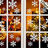 Longsing Noël Flocons De Neige Stickers, Flocons de Neige de Noël Action de Noël Décorations Ornements Fête (5 Feuilles)