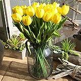 Chunqi Flores Artificiales decoración Plásticas Tulipanes de Seda Ramo Nupcial de la Boda para el Hogar Fiesta 10 Piezas (Blanco)