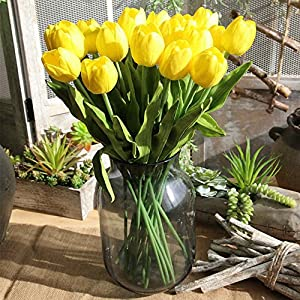 Flores de imitación; ramo de tulipanes artificiales, en tela de seda, reales al tacto; ideal como ramo de novia o para…