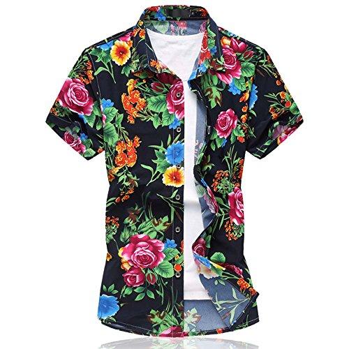 Cloudstyle Herren Urlaub Strand Hawaii Blattaufdruck-Hemd Rosa