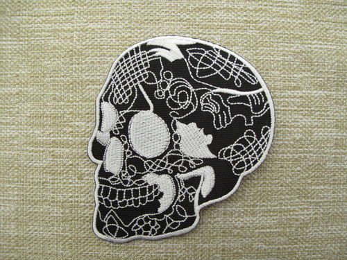 TATTOOED SKULL black Goth Roc Punk Heavy Metal patch Iron on Sew Applique Embroidered patches by Patch Wonder